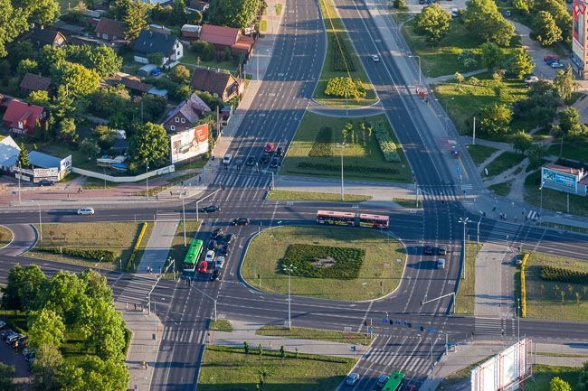 Bialystok, skrzyzowanie ulicy Kopernika i Mazowieckiej. EU, PL, Podlaskie. Lotnicze.