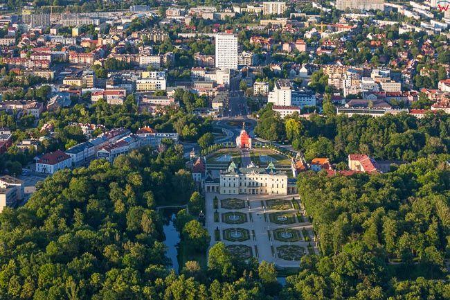 Bialystok, Park i Palac Branickich. EU, PL, Podlaskie. Lotnicze.