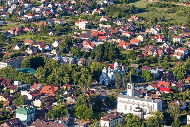 Wasilkow, panorama miejscowosci. EU, PL, Podlaskie. Lotnicze.