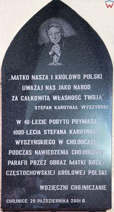 Chojnice, 29.06.2016 r, tablica pamiatkowa Prymasa Wyszynskiego w Bazylice. EU, PL, Pomorskie.