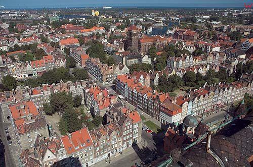 Panorama Gdańska z wieży widokowej kościoła mariackiego