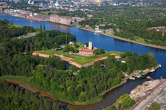 Gdansk, Twierdza Wisloujscie. EU, PL, Pomorskie. Lotnicze.