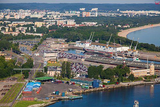 Gdansk, Nowy Port z Wolnym Obszarem Celnym. EU, PL, Pomorskie. Lotnicze.