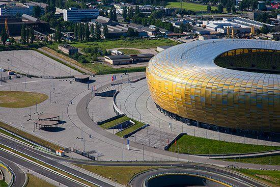 Gdansk, PGE Arena. EU, PL, Pomorskie. Lotnicze.