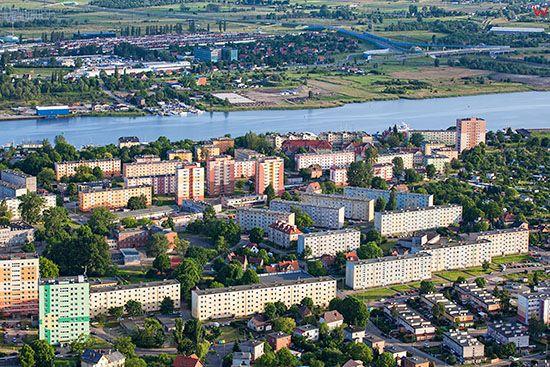Gdansk, osiedle miszkaniowe Stogi. EU, PL, Pomorskie. Lotnicze.