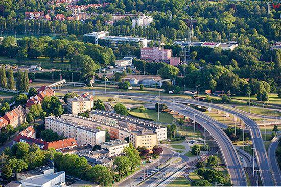 Gdansk, Wezel Kliniczna ulica Marynarki Polskiej. EU, PL, Pomorskie. Lotnicze.