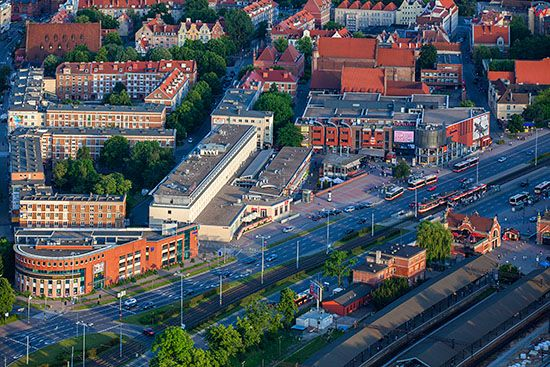 Gdansk, Waly Jagielonskie. EU, PL, Pomorskie. Lotnicze.