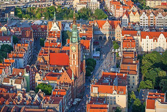 Gdansk, Ratusz Glownego Miasta. EU, PL, Pomorskie. Lotnicze.