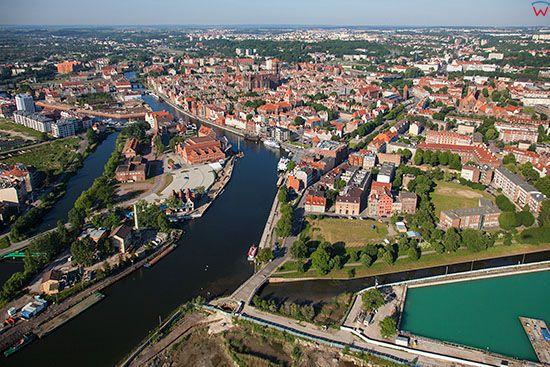 Gdansk, Glowne i Stare Miasto. EU, PL, Pomorskie. Lotnicze.