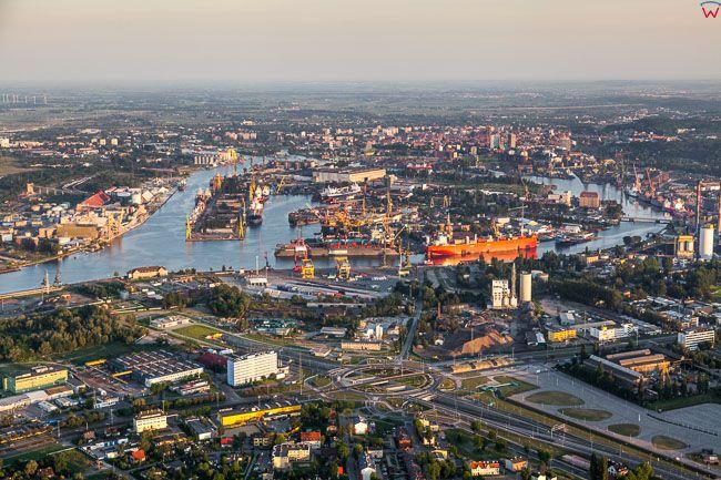 Gdansk, panorama na Stocznie Gdanskie. EU, PL, Pomorskie. Lotnicze.