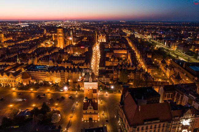 Gdansk, panorama miasta z lotu ptaka-ul. Dluga. EU. PL,Pomorskie. Lotnicze.