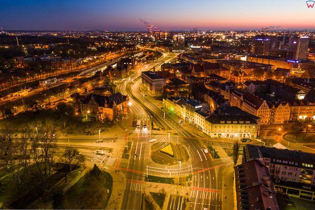 Gdansk, panorama miasta z lotu ptaka-Waly Jagielonskie. EU. PL,Pomorskie. Lotnicze.