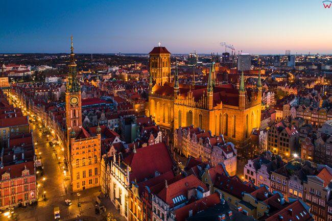 Gdansk, panorama miasta z lotu ptaka- Stare miasto. EU. PL,Pomorskie. Lotnicze.