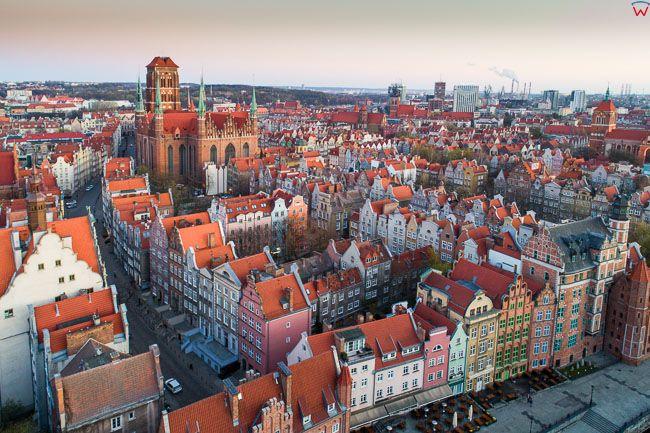 Gdansk, panorama miasta z lotu ptaka - Stare miasto. EU. PL,Pomorskie. Lotnicze.