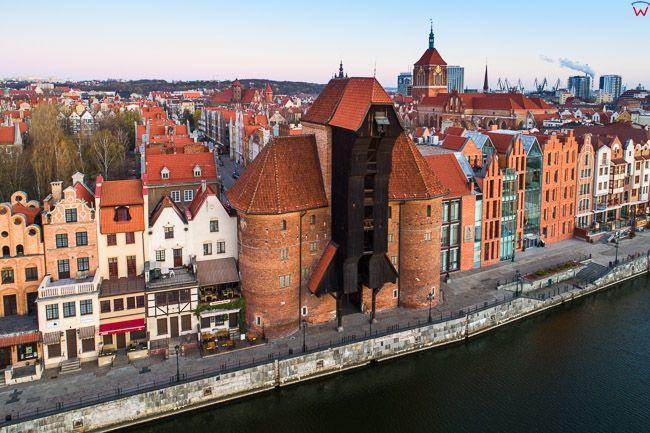 Gdansk, panorama miasta z lotu ptaka-Zuraw. EU. PL,Pomorskie. Lotnicze.