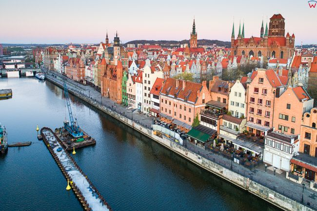 Gdansk, panorama miasta z lotu ptaka-Motlawa. EU. PL,Pomorskie. Lotnicze.
