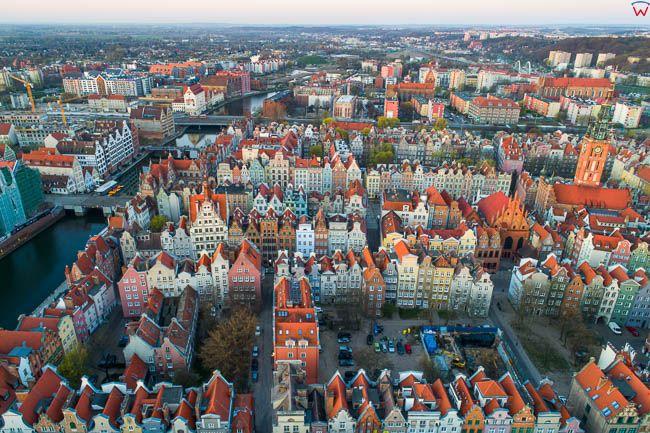 Gdansk, panorama miasta z lotu ptaka-Stare Miasto. EU. PL,Pomorskie. Lotnicze.