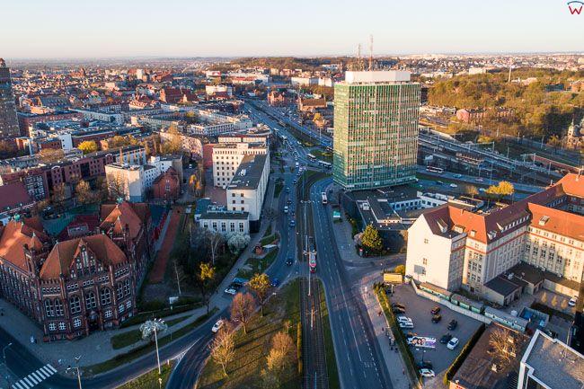 Gdansk, panorama miasta z lotu ptaka-Waly Piastowskie. EU. PL,Pomorskie. Lotnicze.