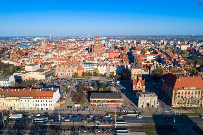 Gdansk, panorama miasta z lotu ptaka-Srodmiescie. EU. PL,Pomorskie. Lotnicze.