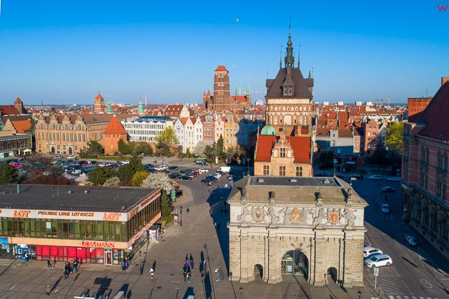 Gdansk, panorama miasta z lotu ptaka-Targ Weglowy. EU. PL,Pomorskie. Lotnicze.