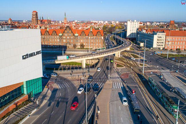Gdansk, panorama miasta z lotu ptaka-Wezel UE. EU. PL,Pomorskie. Lotnicze.