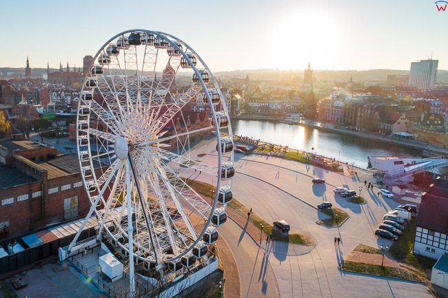 Gdansk, panorama miasta z lotu ptaka-Kolo Widokowe. EU. PL,Pomorskie. Lotnicze.