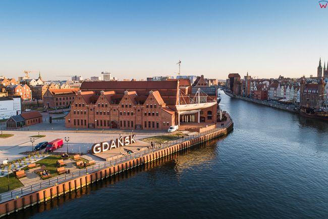 Gdansk, panorama miasta z lotu ptaka-Olowianka. EU. PL,Pomorskie. Lotnicze.