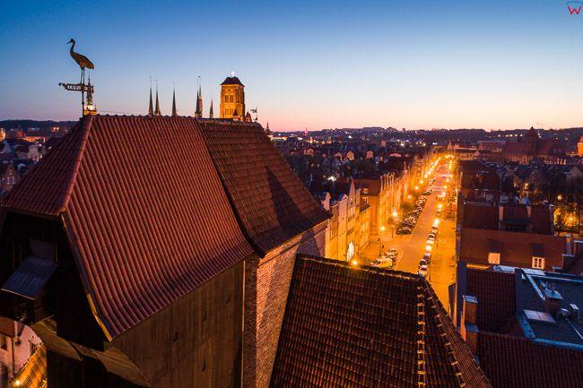 Gdansk, panorama miasta z lotu ptaka-Gdanski Zuraw. EU. PL,Pomorskie. Lotnicze.