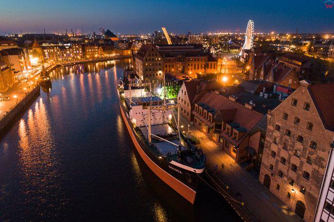 Gdansk, panorama miasta z lotu ptaka-Muzeum Morskie. EU. PL,Pomorskie. Lotnicze.