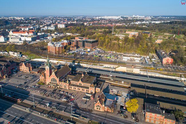 Gdansk, panorama miasta z lotu ptaka-Dworzec PKP. EU. PL,Pomorskie. Lotnicze.