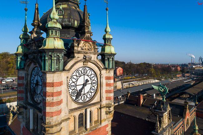 Gdansk, panorama miasta z lotu ptaka-Wieza Dworcowa. EU. PL,Pomorskie. Lotnicze.