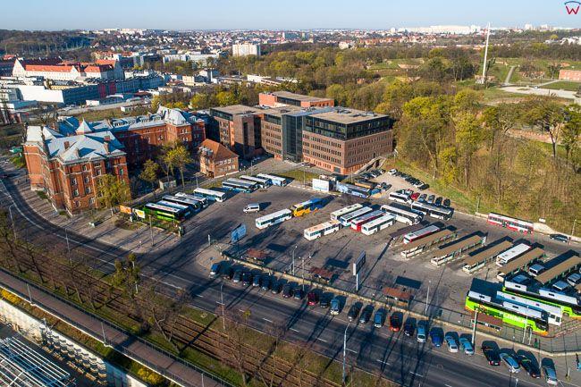 Gdansk, panorama miasta z lotu ptaka-Dworzec PKS. EU. PL,Pomorskie. Lotnicze.