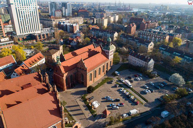 Gdansk, panorama miasta z lotu ptaka-okolica ul. Katarzynki. EU. PL,Pomorskie. Lotnicze.