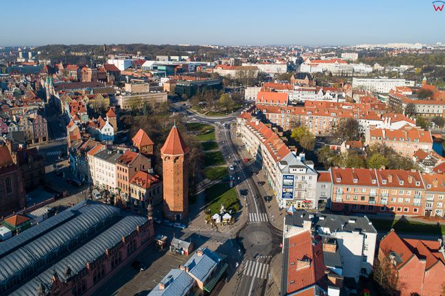 Gdansk, panorama miasta z lotu ptaka-okolica Podwale Misjskie. EU. PL,Pomorskie. Lotnicze.