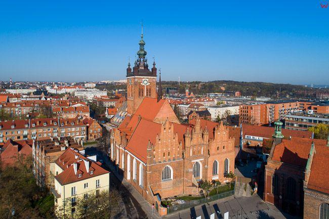 Gdansk, panorama miasta z lotu ptaka-kosciol Rektorski. EU. PL,Pomorskie. Lotnicze.