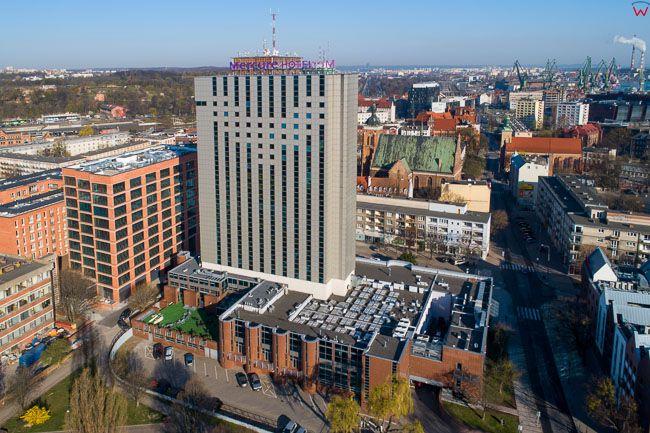 Gdansk, panorama miasta z lotu ptaka-hotel Mercure. EU. PL,Pomorskie. Lotnicze.