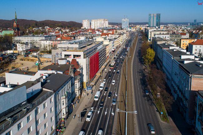 Gdansk, panorama miasta z lotu ptaka-Aleja Zwyciestwa. EU. PL,Pomorskie. Lotnicze.