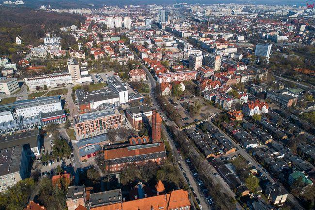 Gdansk, panorama miasta z lotu ptaka-Wrzeszcz. EU. PL,Pomorskie. Lotnicze.