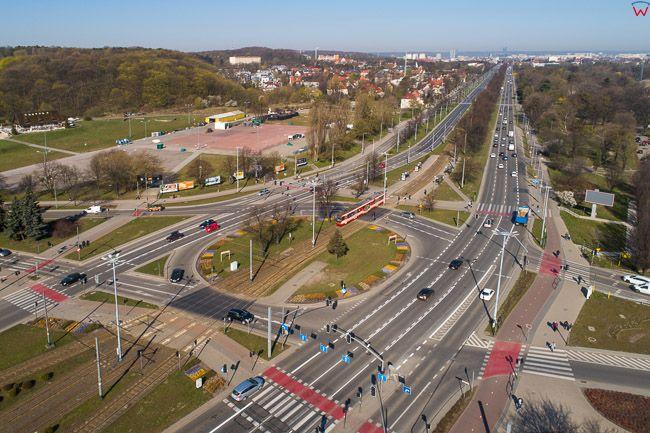 Gdansk, panorama miasta z lotu ptaka-Rondo Ofiar Katynia. EU. PL,Pomorskie. Lotnicze.