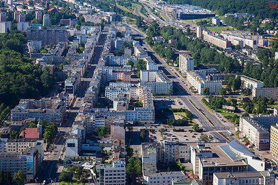 Gdynia, panorama na ulice Swietojanska i Wladyslawa IV. EU, PL, Pomorskie. Lotnicze.