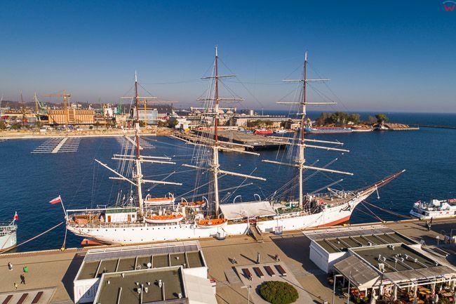 Gdynia, statek muzeum Dar Pomorza EU, PL, Pomorskie. Lotnicze