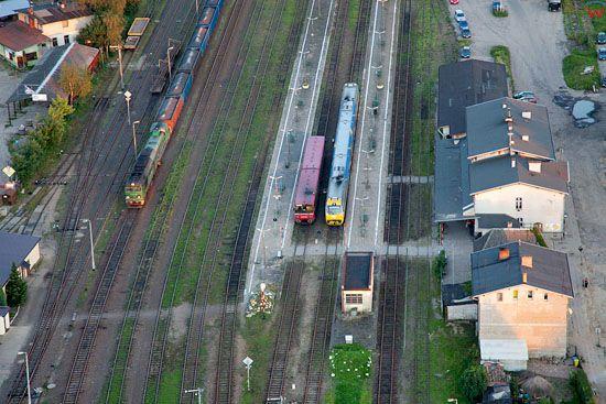 Lotnicze, EU, PL, Pomorskie. Koscierzyna - panorama na dworzec kolejowy.