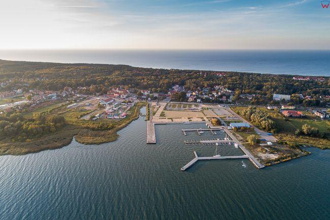 Mierzeja Wislana 06.10.2018 r. Krynica Morska, panorama na port EU, PL, Pomorskie, Lotnicze