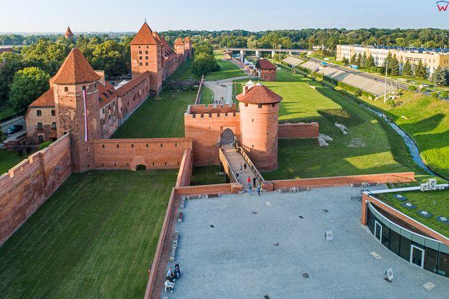 Malbork, mury obronne. EU, PL, Pomorskie. Lotnicze.