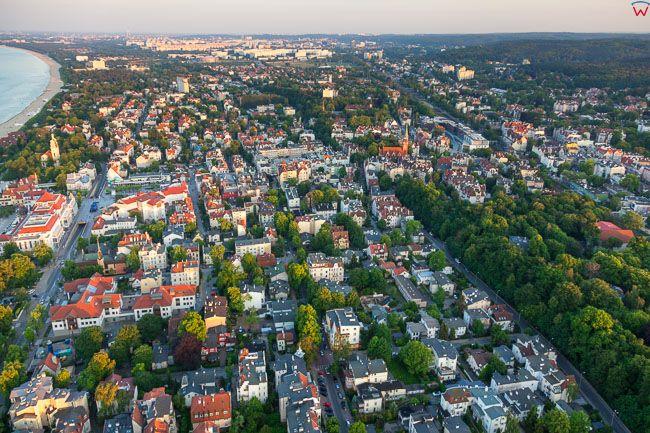 Sopot, panorama miasta. EU, PL, Pomorskie. Lotnicze.