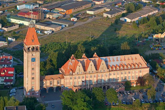 Dom Rybaka we Wladyslawowie. EU, Pl, Pomorskie. LOTNICZE.