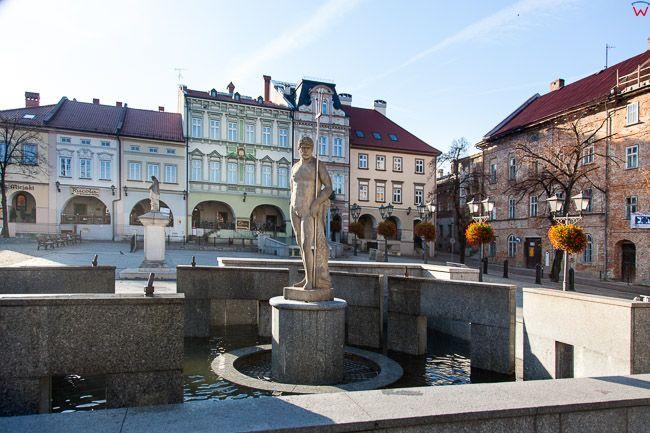 Bielsko - Biala, Fontanna z figura Neptuna na Rynku Staromiejskim. EU, PL, Slaskie.
