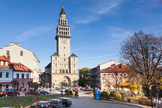 Bielsko - Biala, panorama na Plac sw. Mikolaja i Katedre. EU, PL, Slaskie.