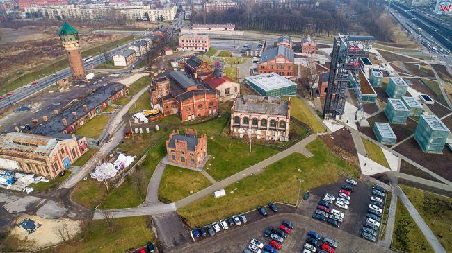Katowice, Nowe Muzeum Slaskie na terenie dawnej kopalni. EU, Pl, slaskie. Lotnicze.