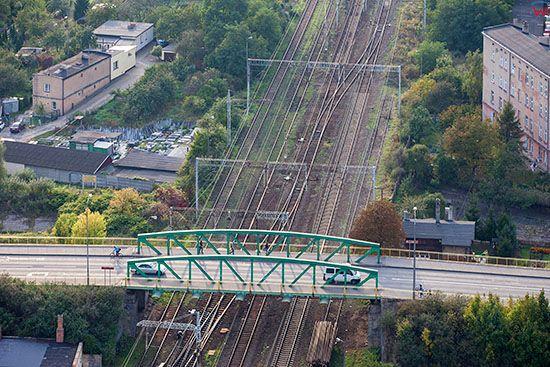 Gniezno, wiadukt na ulicy Warszawskiej. EU, Pl, Wielkopolskie. Lotnicze.